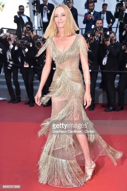 Un Certain Regard jury president Uma Thurman attends the Closing Ceremony during the 70th annual Cannes Film Festival at Palais des Festivals on May...
