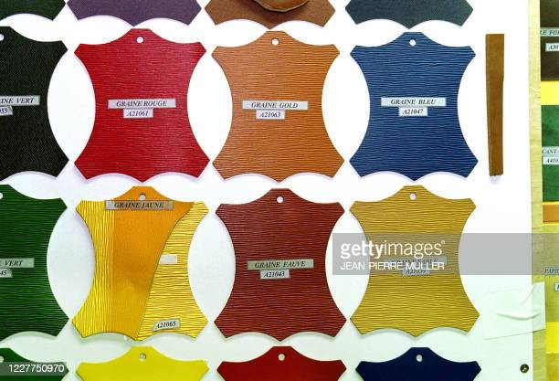 Un échantillon des peaux de différentes couleurs pour la confection des sacs de luxe le 15 décembre 1999 dans les ateliers de LV à AsnièressurSeine...