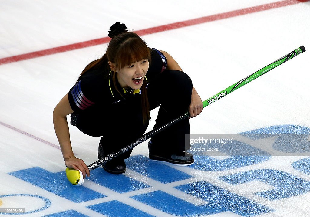 Un Chi Gim of Korea competes against China during the Women's Curling Round Robin match on day seven of the Sochi 2014 Winter Olympics at Ice Cube Curling Center on February 14, 2014 in Sochi, Russia.
