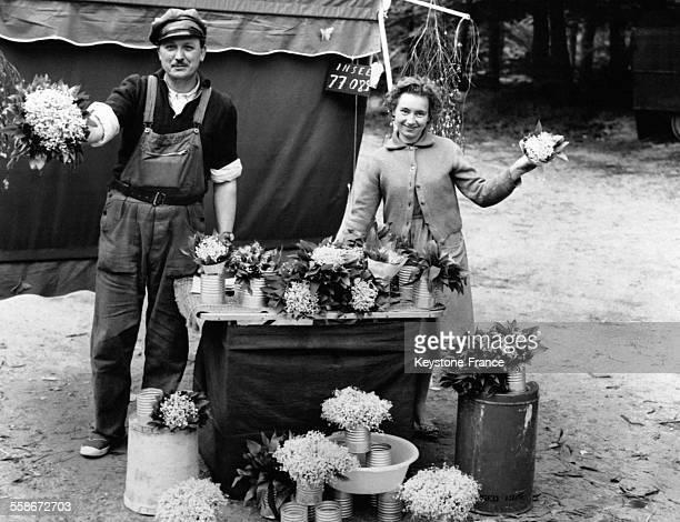 Un couple de marchands de muguet s'est installé à un rondpoint de la Forêt de Rambouillet afin de proposer du muguet avant l'heure aux automobilistes...