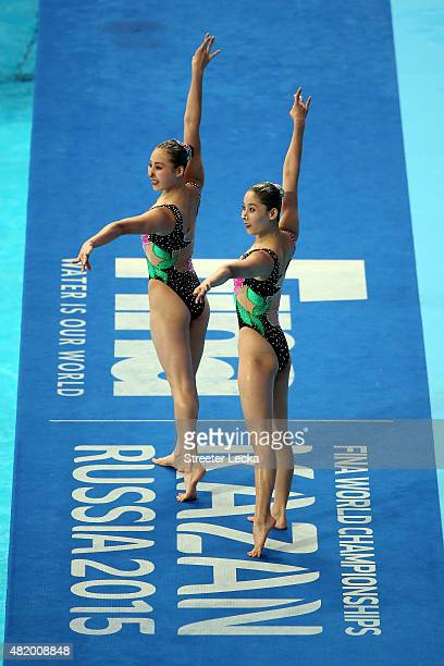 Un Ha Kang and Un A Kim of North Korea compete in the Women's Duet Technical Preliminary Synchronised Swimming on day two of the 16th FINA World...