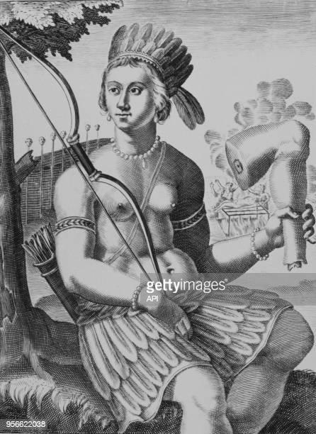 Un Indien tel qu'il est représenté dans l'Amérique historique en 1638 à la Bibliothèque Mazarine