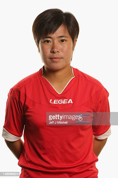 Un Ju Choe poses during Korea DPR Women's Official Olympic Football Team Portraits on July 21 2012 in Glasgow Scotland