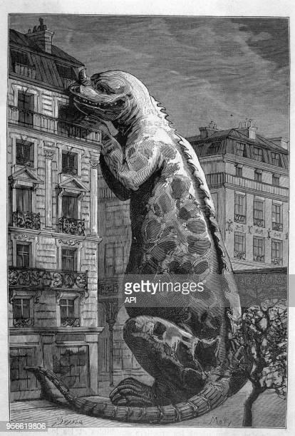 Un monstre proche d'un iguanodon géant de la taille d'un immeuble à Paris France