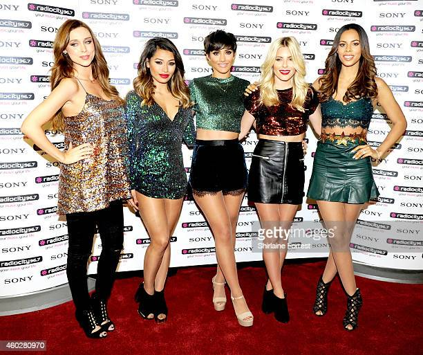 Una Foden Vanessa White Frankie Bridge Mollie King and Rochelle Humes of The Saturdays attend a photo call at Radio City Live on December 10 2014 in...
