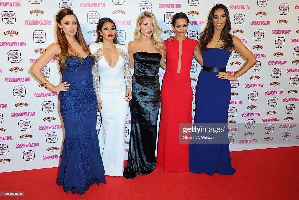 Una Foden, Vanessa White, Mollie King, Frankie Bridge and Rochelle Humes from 'The Saturdays' attend the Cosmopolitan Ultimate Women of the Year Awards at One Mayfair on December 3, 2014 in London, England.
