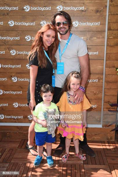 Una Healy Ben Foden and their children Aoife Belle Foden and Tadhg John Foden enjoying Barclaycard Exclusive area at Barclaycard presents British...