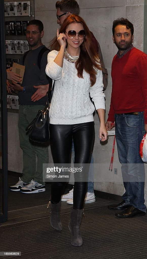 Una Healy from the Saturdays seen at BBC Radio One on October 22, 2013 in London, England.