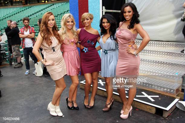Una Healy Mollie King Frankie Sandford Vanessa White and Rochelle Wiseman of The Saturdays pose backstage at the Help The Heroes Concert 2010 held at...