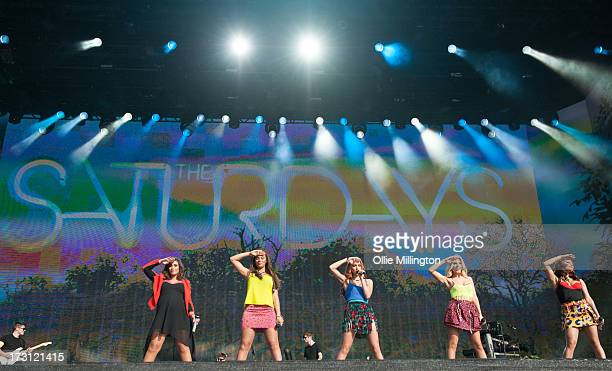 Una Healy Mollie King Rochelle Humes Frankie Sandford and Vanessa White of The Saturdays perform onstage during day 3 of British Summer Time Hyde...