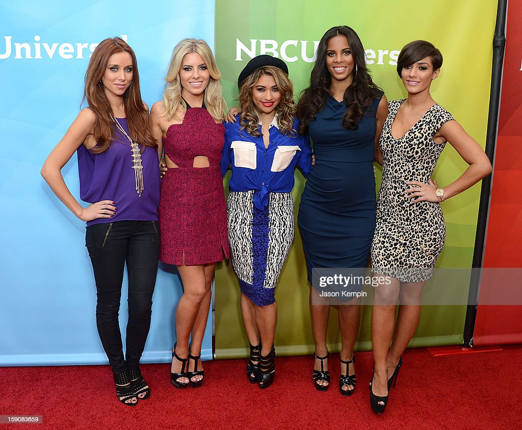 Una Healy, Mollie King, Vanessa White, Rochelle Humes and Frankie Sandford of 'The Saturdays' attend NBCUniversal's '2013 Winter TCA Tour' Day 2 at Langham Hotel on January 7, 2013 in Pasadena, California.