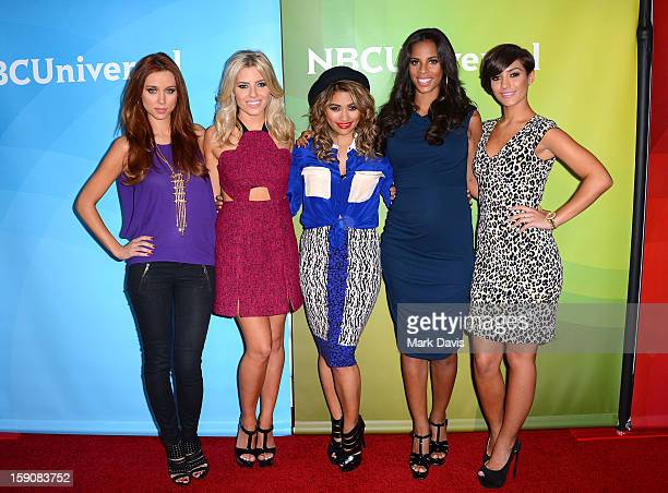 Una Healy, Mollie King, Vanessa White, Rochelle Humes and Frankie Sandford of 'The Saturdays' attend NBCUniversal's '2013 Winter TCA Tour' Day 2 at...