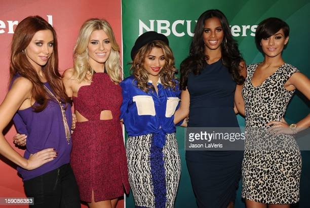 Una Healy Mollie King Vanessa White Rochelle Wiseman and Frankie Sandford of The Saturdays attend the 2013 NBC TCA Winter Press Tour at The Langham...