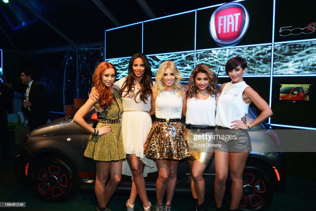 Una Healy, Rochelle Wiseman, Mollie King, Vanessa White and Frankie Sandford of The Saturdays attend Fiat's Into The Green at the 70th Annual Golden Globe Awards held at The Beverly Hilton Hotel on January 13, 2013 in Beverly Hills, California.