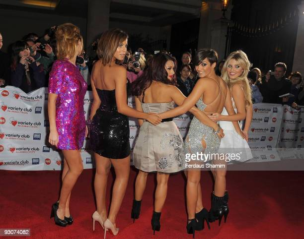 Una Healy Rochelle Wiseman Vanessa White Frankie Sanford and Mollie King of The Saturdays attend the Variety Club Showbiz Awards at Grosvenor House...