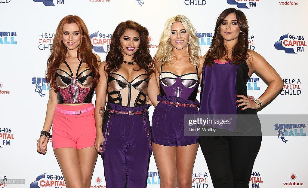 Una healy, Vanessa White, Mollie King and Frankie Sandford of The Saturdays pose in the Media Room at the Capital Summertime Ball at Wembley Arena on June 9, 2013 in London, England.