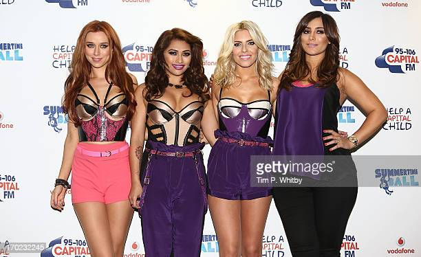 Una healy Vanessa White Mollie King and Frankie Sandford of The Saturdays pose in the Media Room at the Capital Summertime Ball at Wembley Arena on...
