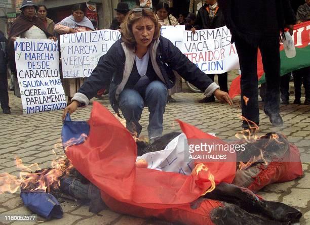 Una mujer quema una bandera chilena y dos muñecos el 10 de febrero de 2004 durante una protesta en El Alto a 10 km de La Paz Organizaciones de...