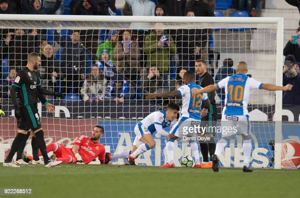 Unai Bustinza of CD Leganes celebrates after scoring his teamÕs opening goal during the La Liga match between Leganes and Real Madrid at Estadio...
