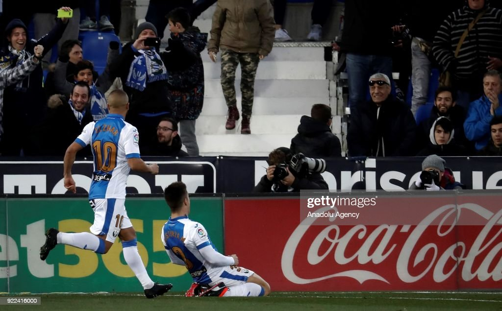 Unai Bustinza of Leganes celebrates after scoring a goal during the La Liga football match between Leganes and Real Madrid at the Estadio Municipal Butarque in Madrid, Spain on February 21, 2018.
