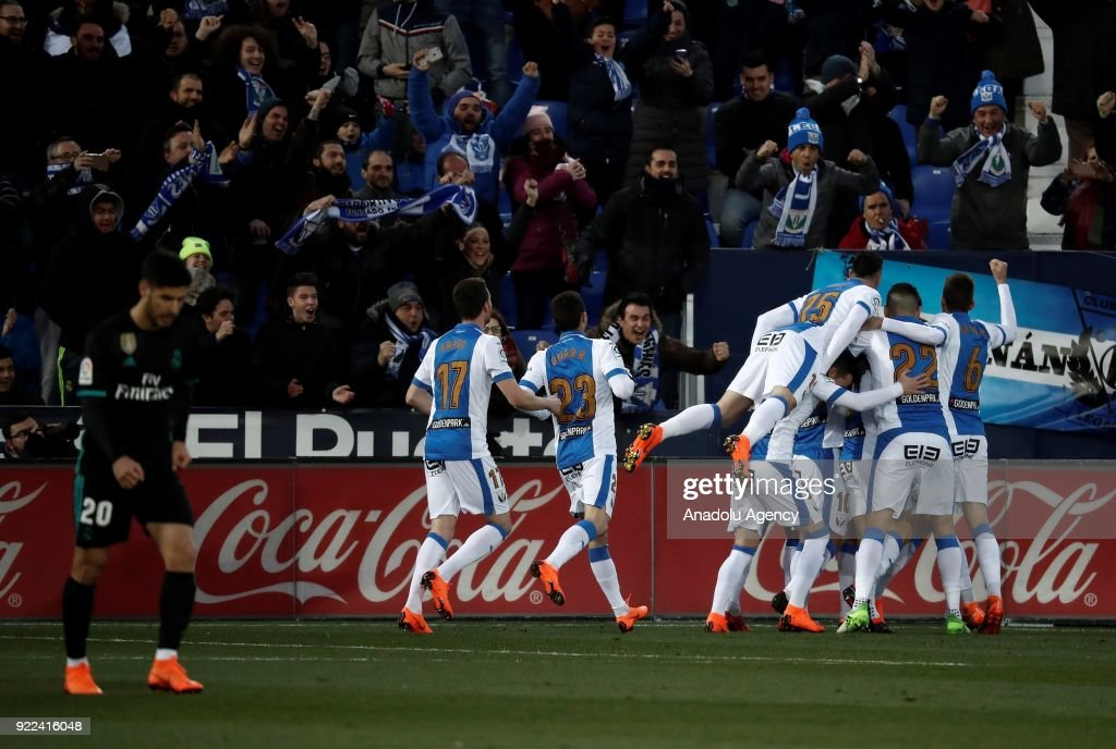 Unai Bustinza of Leganes celebrates with his team mates after scoring a goal during the La Liga football match between Leganes and Real Madrid at the Estadio Municipal Butarque in Madrid, Spain on February 21, 2018.