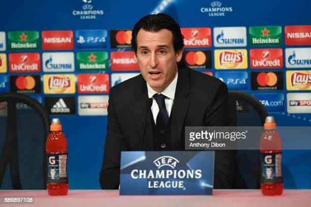 Unai Emery coach of PSG during a press conference after the UEFA Champions League match between Bayern Munich and Paris Saint Germain at Allianz...