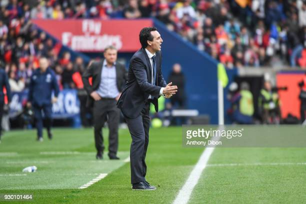 Unai Emery coach of PSG during the Ligue 1 match between Paris Saint Germain and Metz at Parc des Princes on March 10 2018 in Paris