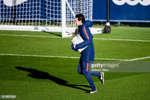 Unai Emery coach of PSG during training session of Paris Saint Germain PSG at Camp des Loges on January 26 2018 in Paris France