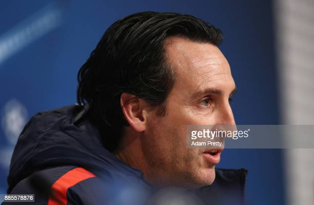Unai Emery coach of PSG looks on during a Paris SaintGermain press conference on the eve of their UEFA Champions League match against Bayern Muenchen...