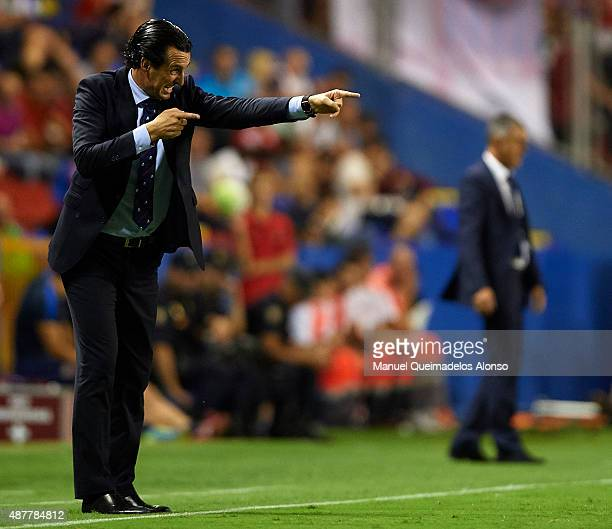 Unai Emery coach of Sevilla gives instructions during the La Liga match between Levante UD and Sevilla FC at Ciutat de Valencia Stadium on September...