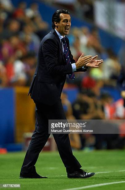 Unai Emery coach of Sevilla reacts during the La Liga match between Levante UD and Sevilla FC at Ciutat de Valencia Stadium on September 11 2015 in...