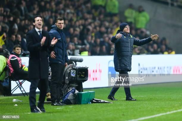 Unai Emery head coach of Paris Saint Germain and Claudio Ranieri headcoach of Nantes during the Ligue 1 match between FC Nantes and Paris Saint...