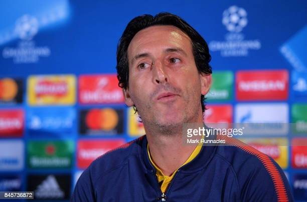 Unai Emery head coach of PSG looks on during a Paris SaintGermain press conference ahead of the UEFA Champions League Group B match against Celtic at...