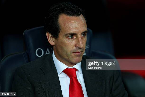 Unai Emery Head Coach of Sevilla FC looks on before the La Liga match between FC Barcelona and Sevilla FC at Camp Nou on February 28 2016 in...
