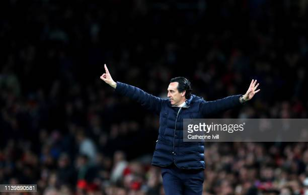 Unai Emery manager / head coach of Arsenal during the Premier League match between Arsenal FC and Newcastle United at Emirates Stadium on April 01...