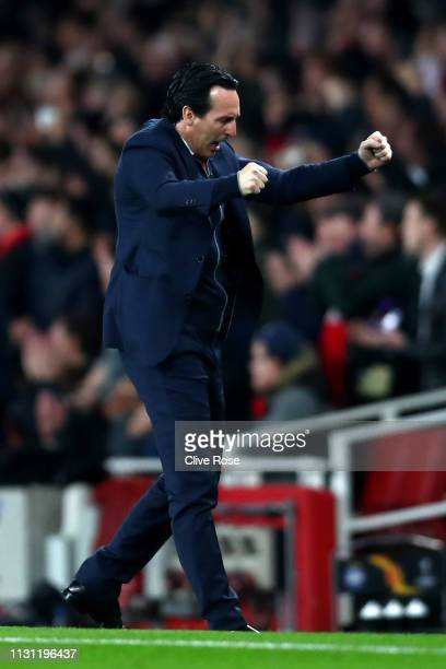 Unai Emery Manager of Arsenal celebrates his team's first goal an own goal scored by Zakhar Volkov of FC BATE during the UEFA Europa League Round of...