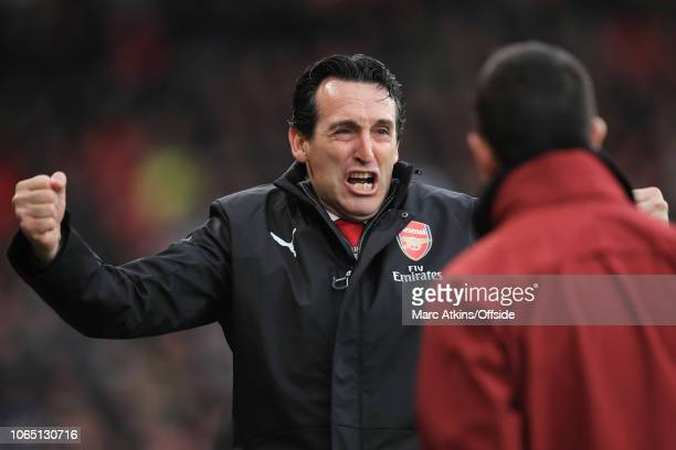 Unai Emery manager of Arsenal celebrates the winning goal during the Premier League match between AFC Bournemouth and Arsenal FC at Vitality Stadium...