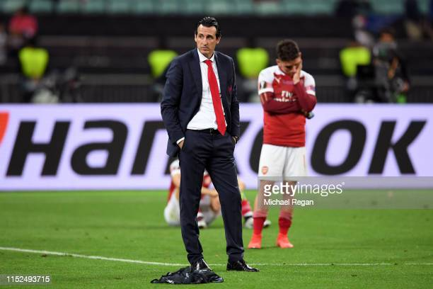Unai Emery, Manager of Arsenal looks dejected after the UEFA Europa League Final between Chelsea and Arsenal at Baku Olimpiya Stadionu on May 29,...