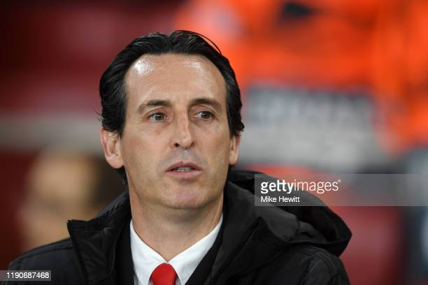 Unai Emery, Manager of Arsenal looks on ahead of the UEFA Europa League group F match between Arsenal FC and Eintracht Frankfurt at Emirates Stadium...