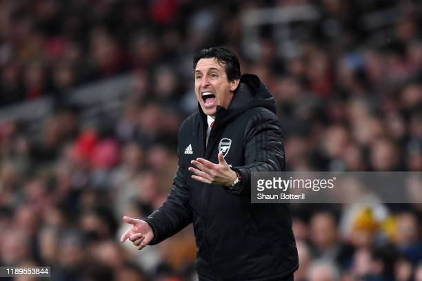 Unai Emery, Manager of Arsenal looks on during the Premier League match between Arsenal FC and Southampton FC at Emirates Stadium on November 23,...