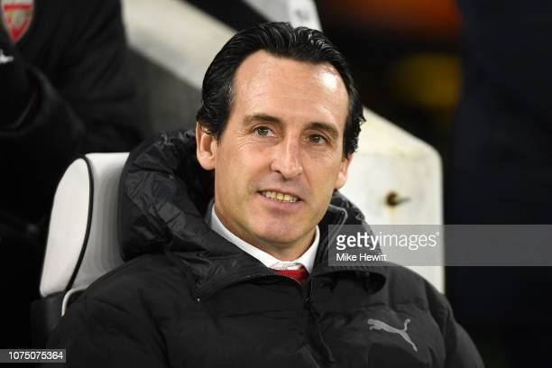 Unai Emery Manager of Arsenal looks on prior to the Premier League match between Brighton Hove Albion and Arsenal FC at American Express Community...