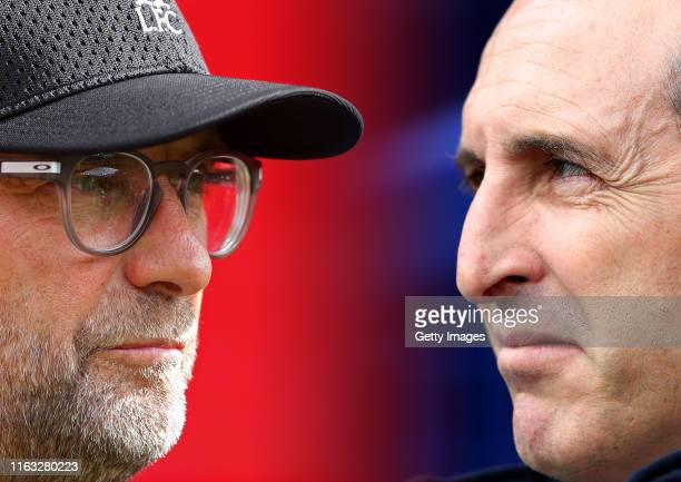 Unai Emery, Manager of Arsenal looks on prior to the Premier League match between Everton FC and Arsenal FC at Goodison Park on April 07, 2019 in...