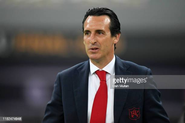 Unai Emery, Manager of Arsenal looks on prior to the UEFA Europa League Final between Chelsea and Arsenal at Baku Olimpiya Stadionu on May 29, 2019...