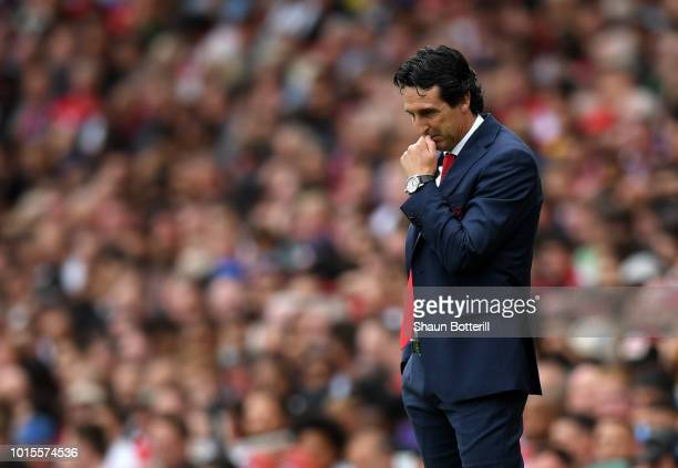 Unai Emery Manager of Arsenal reacts during the Premier League match between Arsenal FC and Manchester City at Emirates Stadium on August 12 2018 in...