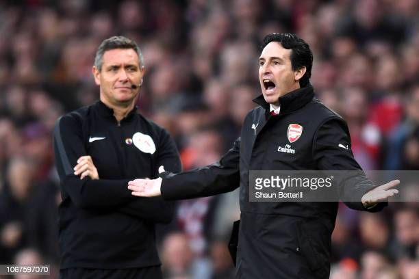 Unai Emery Manager of Arsenal reacts during the Premier League match between Arsenal FC and Tottenham Hotspur at Emirates Stadium on December 1 2018...