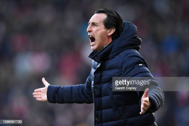 Unai Emery Manager of Arsenal reacts during the Premier League match between Huddersfield Town and Arsenal FC at John Smith's Stadium on February 9...