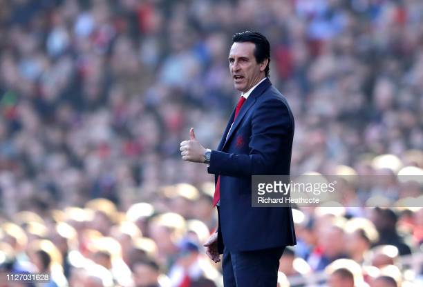 Unai Emery Manager of Arsenal reacts during the Premier League match between Arsenal FC and Southampton FC at Emirates Stadium on February 23 2019 in...