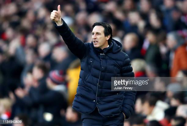 Unai Emery Manager of Arsenal reacts during the Premier League match between Arsenal FC and Manchester United at Emirates Stadium on March 10 2019 in...