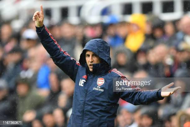 Unai Emery Manager of Arsenal reacts during the Premier League match between Newcastle United and Arsenal FC at St James Park on August 11 2019 in...