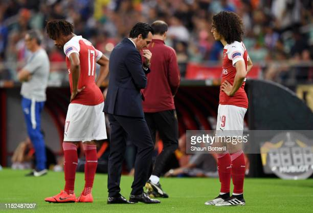 Unai Emery, Manager of Arsenal reacts during the UEFA Europa League Final between Chelsea and Arsenal at Baku Olimpiya Stadionu on May 29, 2019 in...
